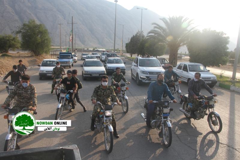 رژه موتوری و کاروان شادی خودرویی جشن عید غدیر در شهر نودان برگزار شد + عکس